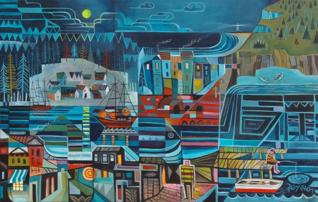 """ Moonlight Bay "" 110 x 70 cm Acrílico sobre madera."
